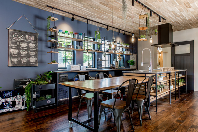 See more industrial dining room designs